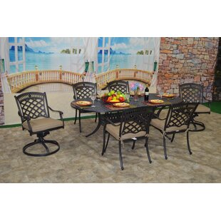 Britt 7 Piece Sunbrella Dining Set with Cushions by Fleur De Lis Living