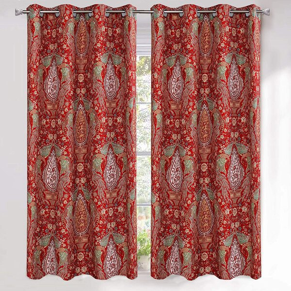 Traditional Curtains,Red Valances Floral Asian Curtains,Red Curtains Pillows
