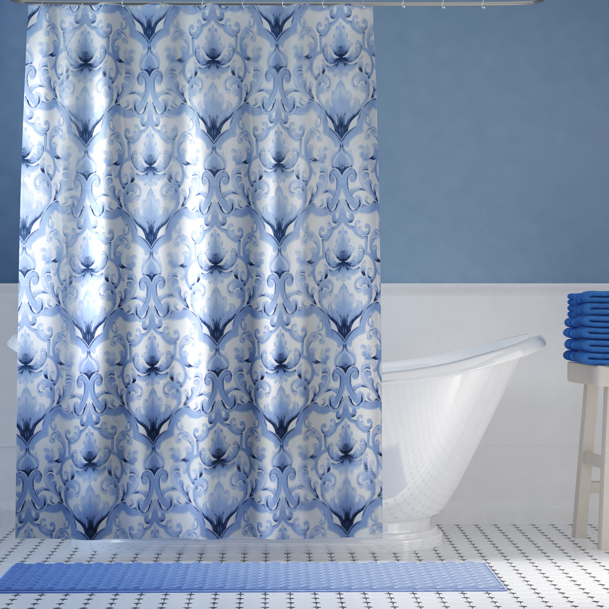 Perfect Damask Shower Curtains Picture Collection - Bathroom with ...