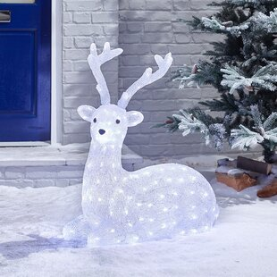 Mains Operated Indoor And Outdoor Solid Acrylic Deer Christmas Decoration Figurine Image