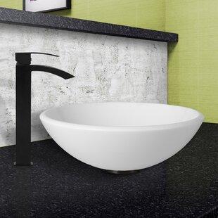 Reviews Phoenix Glass Circular Vessel Bathroom Sink with Faucet By VIGO