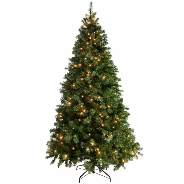 The Seasonal Aisle Multi Function 7ft Green Spruce Artificial Christmas Tree With 300 Clear White Lights With Stand Reviews Wayfair Co Uk