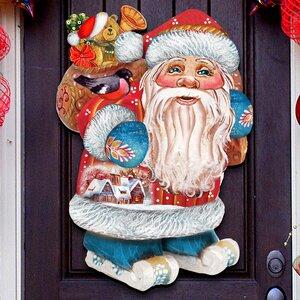 Old World Skiing Santa Wooden Holiday Door/Wall Hanging Decor