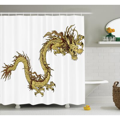 Penny Dragon Fire Zodiac Large Claws Symbol Of Power Chinese Astrology Mythology Shower Curtain