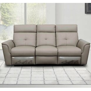 Shop Fish Leather Reclining Sofa by Orren Ellis