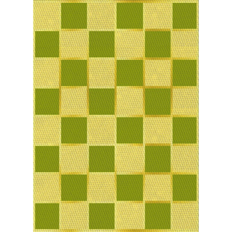 East Urban Home Geometric Wool Green Yellow Area Rug Wayfair