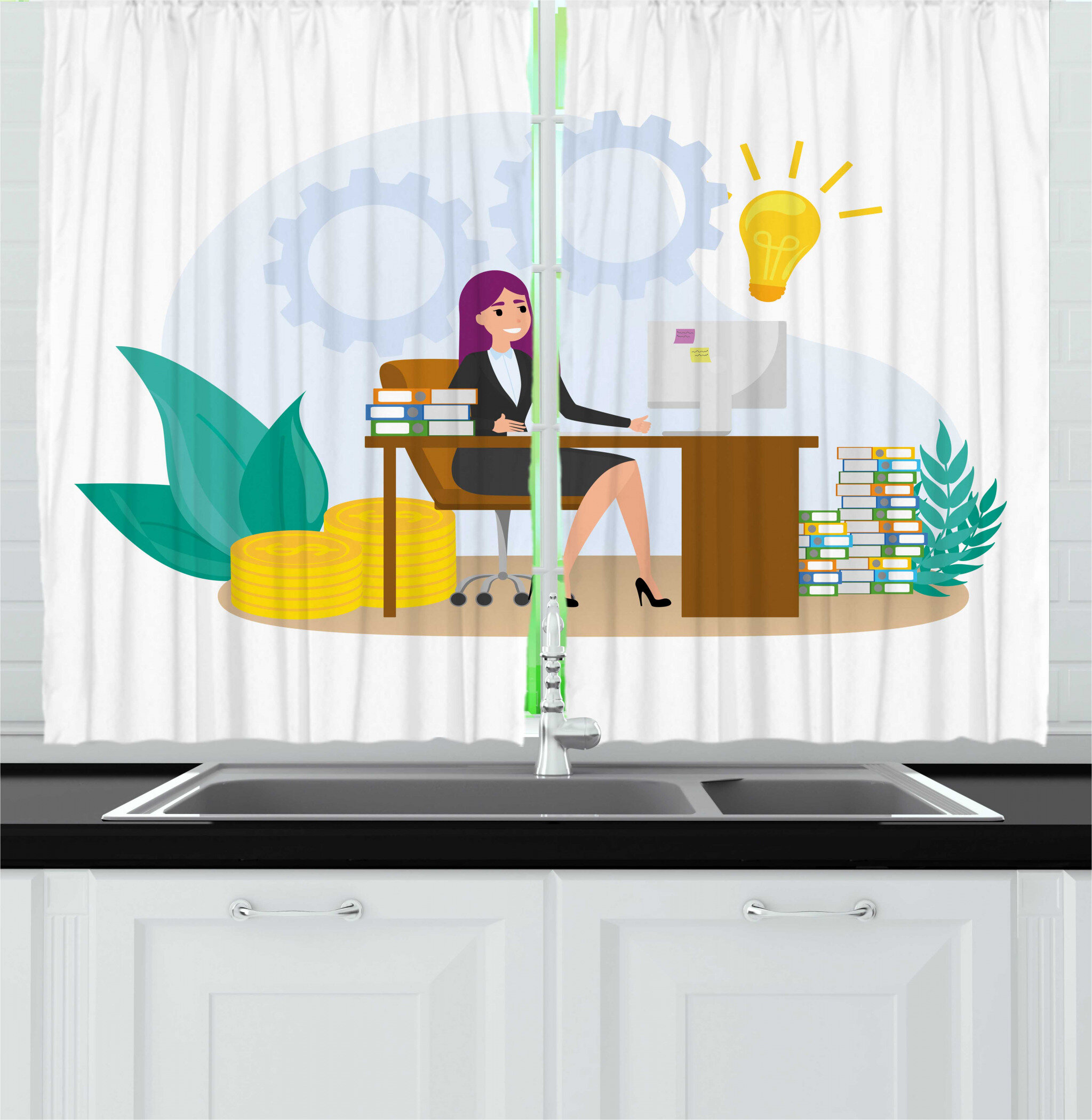 East Urban Home 2 Piece Girl Boss Happy Smiling Woman Sitting At The Desk With Money And Idea Books Cartoon Kitchen Curtain Set Wayfair