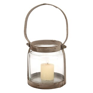 Gracie Oaks Donna Metal/Glass Lantern