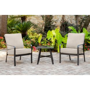 Colson 3 Piece Seating Group with Sunbrella Cushions by Gracie Oaks