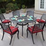 Apple by 7 Piece Metal Dining Set with Cushions