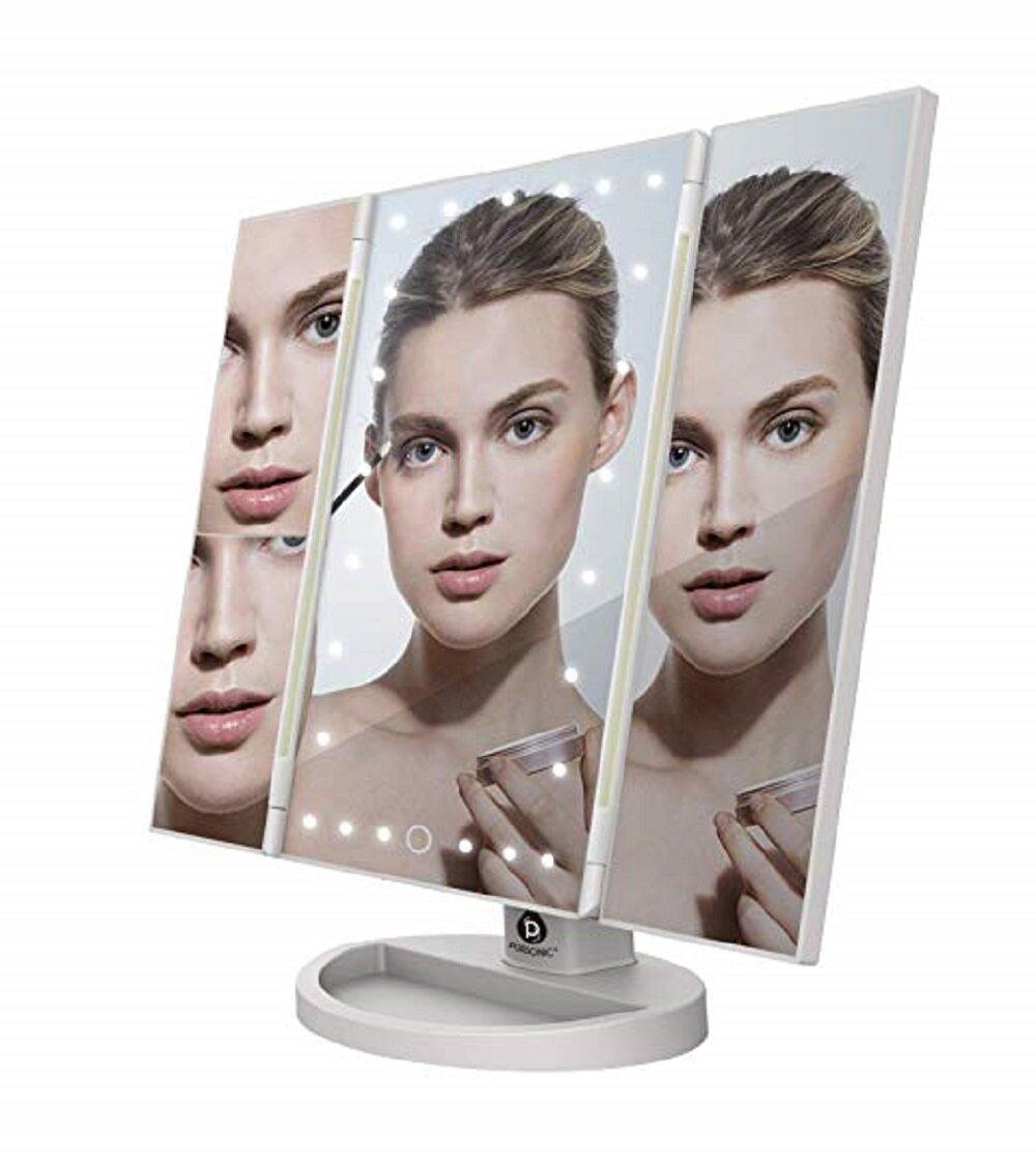 Orren Ellis Virgil Led Tri Fold Vanity Mirror 2x And 3x Magnifications 24 Dimmable Natural Lights Touch Screen Adjustable Countertop Table Mirror With Cosmetic Stand Reviews Wayfair