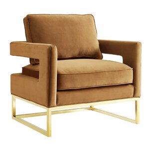 Geeta Cognac Velvet Chair by Willa Arlo Interiors