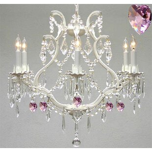 Rosdorf Park Clemence 6-Light Candle Style Chandelier with Pink Hearts