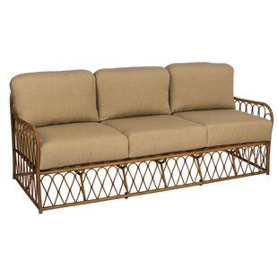 Cane Patio Sofa with Cushions by Woodard