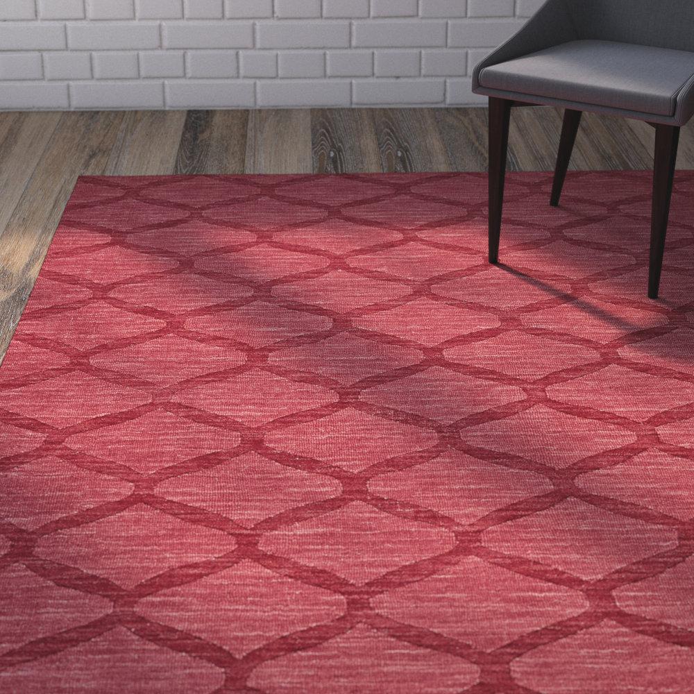 Brayden Studio Murray Geometric Handmade Tufted Wool Red Area Rug Wayfair
