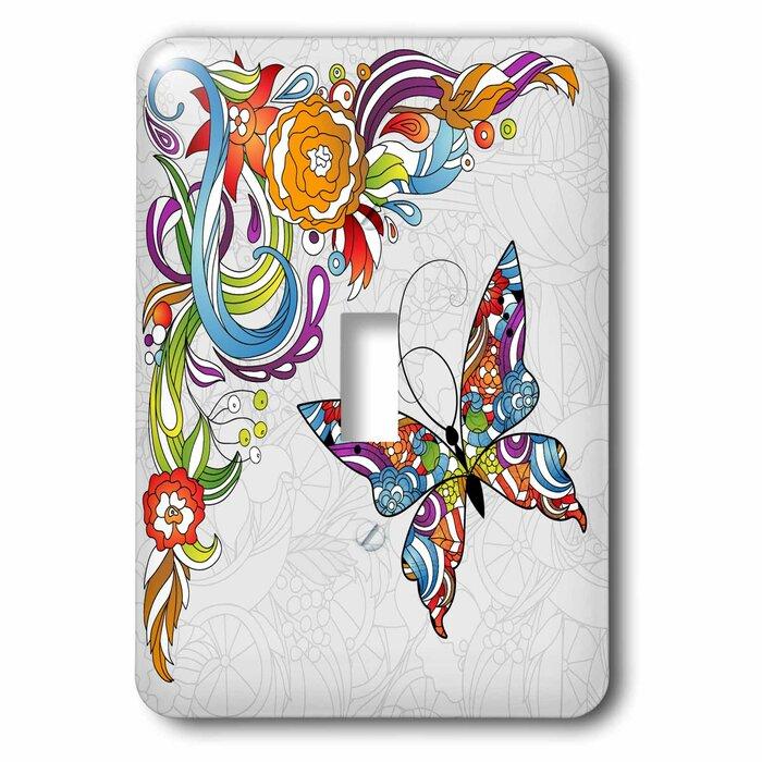 3drose Flower Swirl Butterfly 1 Gang Toggle Light Switch Wall Plate Wayfair