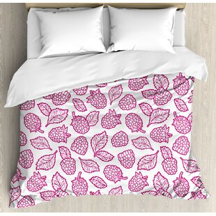 East Urban Home Fruit Cute Raspberry Pattern Doodle Style Vibrant Yummy Fresh Leaves Nature Art Image Duvet Set