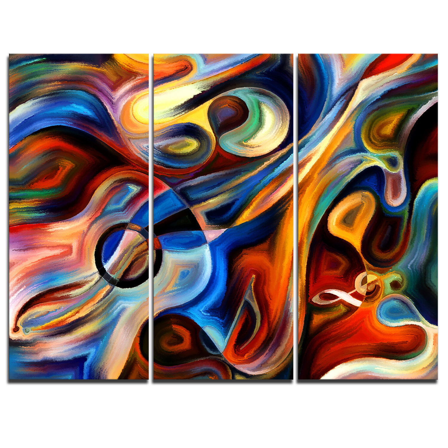 Abstract Music And Rhythm 3 Piece Painting Print On Wrapped Canvas Set