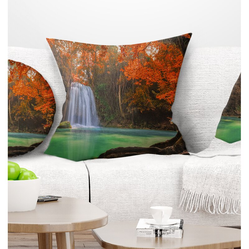 East Urban Home Photography Erawan Waterfall Pillow Wayfair