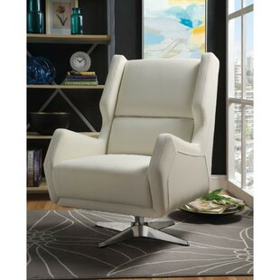 Miamisburg Metal Base Faux Leather Upholstered Swivel Wingback Chair by Ivy Bronx