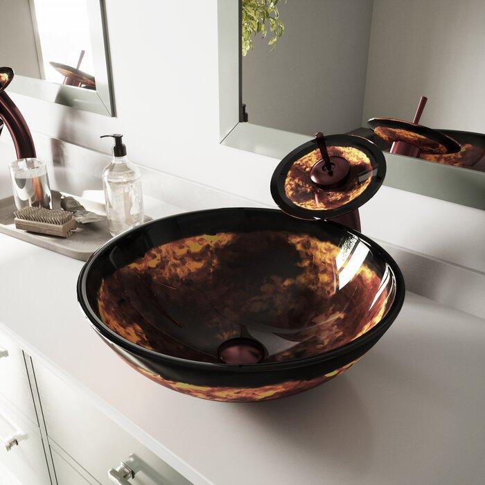 Lavabo de salle de bain vasque circulaire en verre trempé Fusion