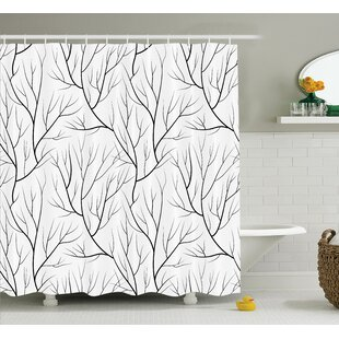 Corinne Winter Tree Leaf Nature Theme Leafless Delicate Branches Pattern Japanese Style Single Shower Curtain