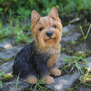 Sitting Yorkshire Terrier Dog Statue