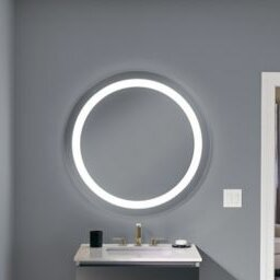 Vitality Circle Lighted Bathroom/Vanity Mirror With Inset Light Pattern