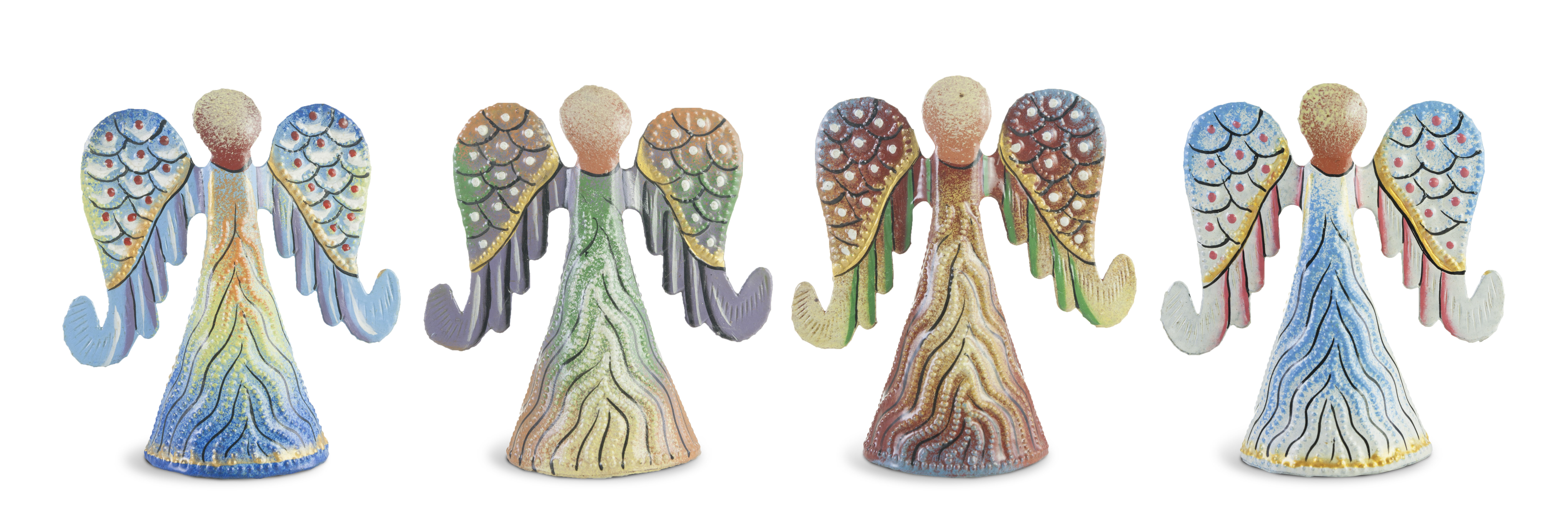 Winston Porter 4 Piece Painted Angel With Curled Wing Sculpture Set Wayfair