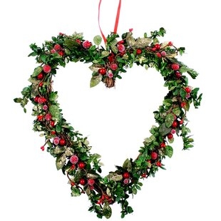 Artificial 26cm Heart With Berries And Leaves Christmas Wreath By The Seasonal Aisle