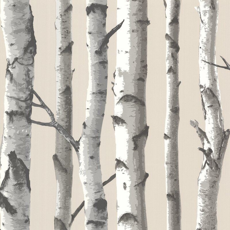"Brewster Home Fashions Echo Lake Lodge 33' x 20.5"" Tuxbury Birch Tree Wallpaper Roll"