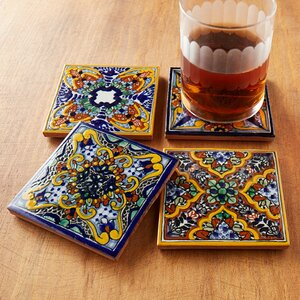 Spanish Garden Hand Painted Tile Coasters (Set of 4)