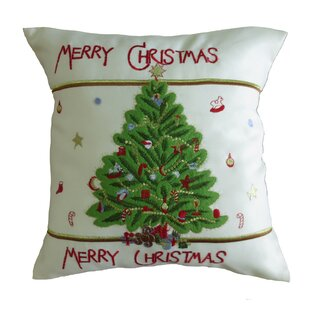 Radke Decorative Embroidered Merry Christmas with Applique Christmas Tree Design Pillow Cover