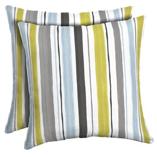 Cronan Striped Outdoor Throw Pillow (Set of 2)
