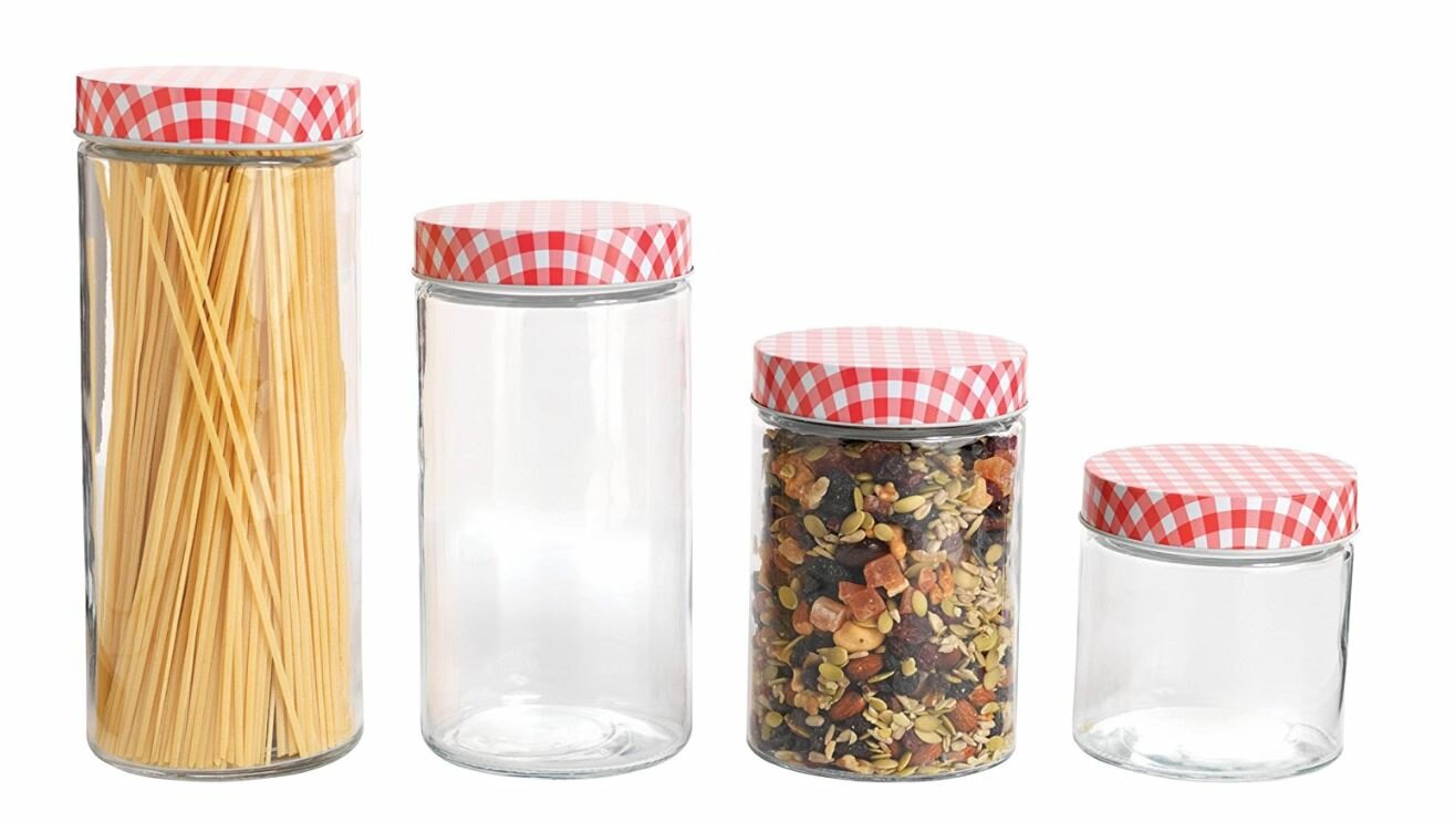 Anchor Hocking Glass Cylinder Kitchen Canister Set with Gingham Lids ...