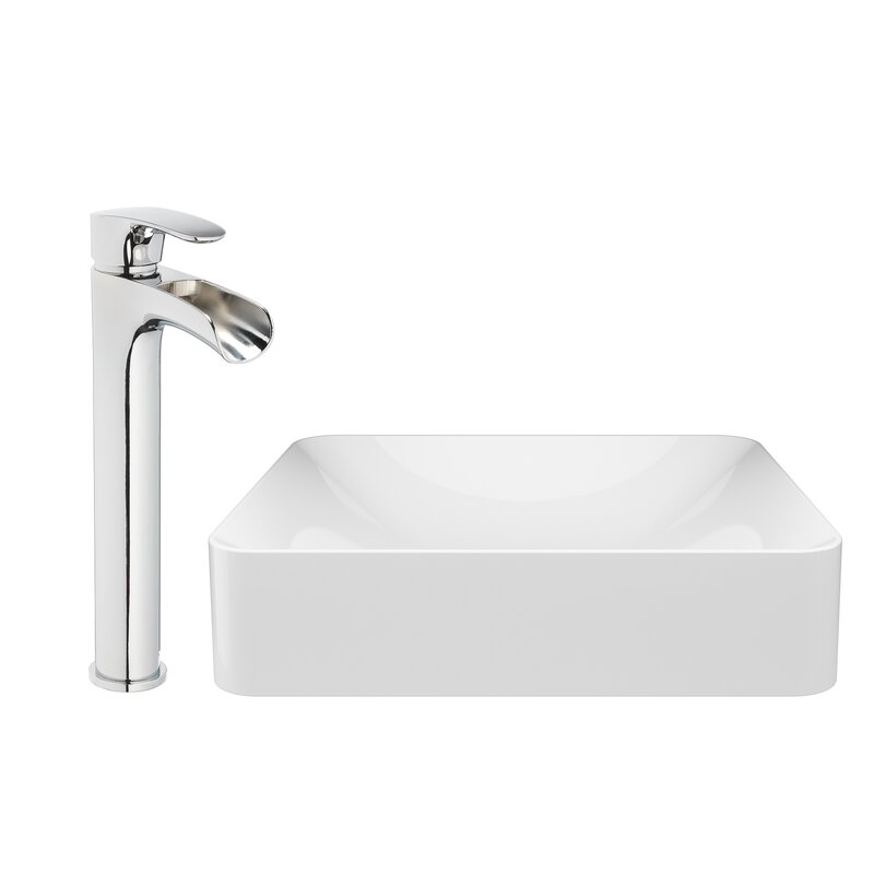 Jacuzzi Solid Surface Stone Rectangular Vessel Bathroom Sink With Faucet Reviews Perigold