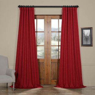 Clem Faux Linen Room Darkening Single Curtain Panel by Three Posts