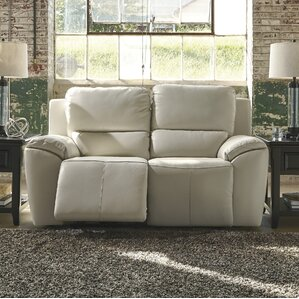 Johnston Leather Reclining Loveseat by Latit..