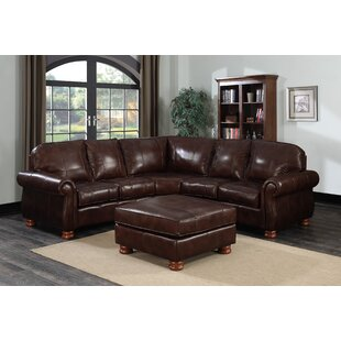 Beldale Leather Sectional with Ottoman by DarHome Co
