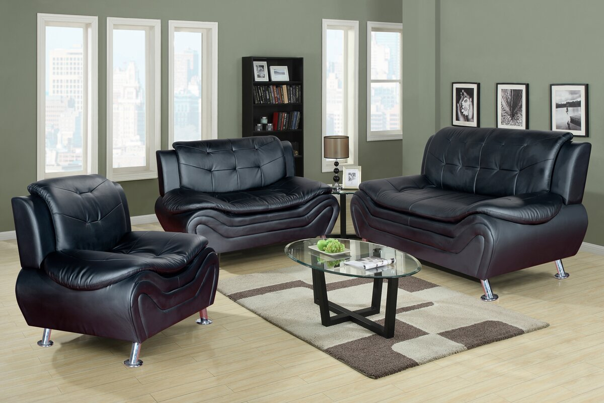 Algarve 3 Piece Leather Living Room Set. Latitude Run Algarve 3 Piece Leather Living Room Set   Reviews