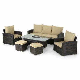Cheap Price Craman 5 Seater Rattan Effect Corner Sofa Set