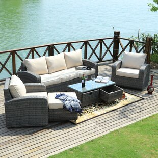 Belmonte 5 Piece Rattan Sofa Set with Cushions