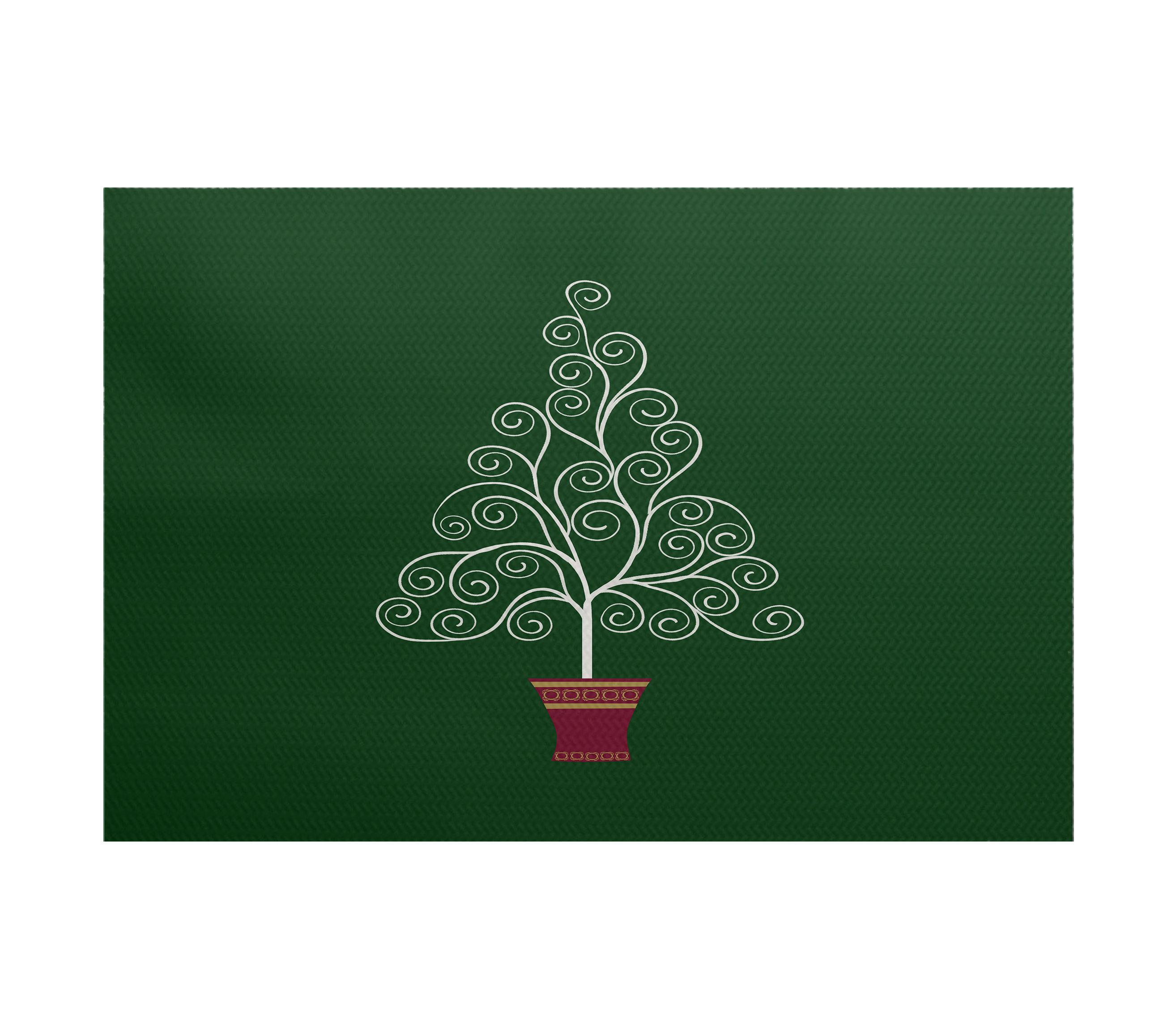 Filigree Tree Green Area Rug