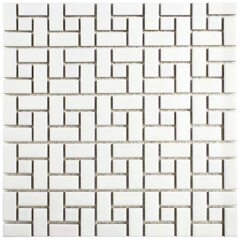 Retro Spiral 12 5 X Porcelain Mosaic Floor And Wall Tile In Matte White