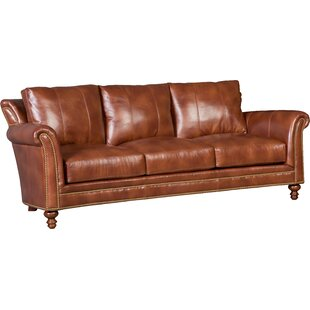 Richardson Stationary Leather Sofa. By Bradington Young