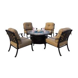 Alcott Hill Thompson 5 Piece Conversation Set with Cushions