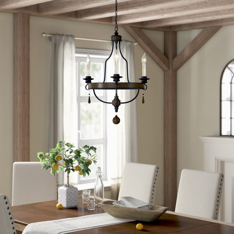Jamesburg 3-light Wagon Wheel Chandelier