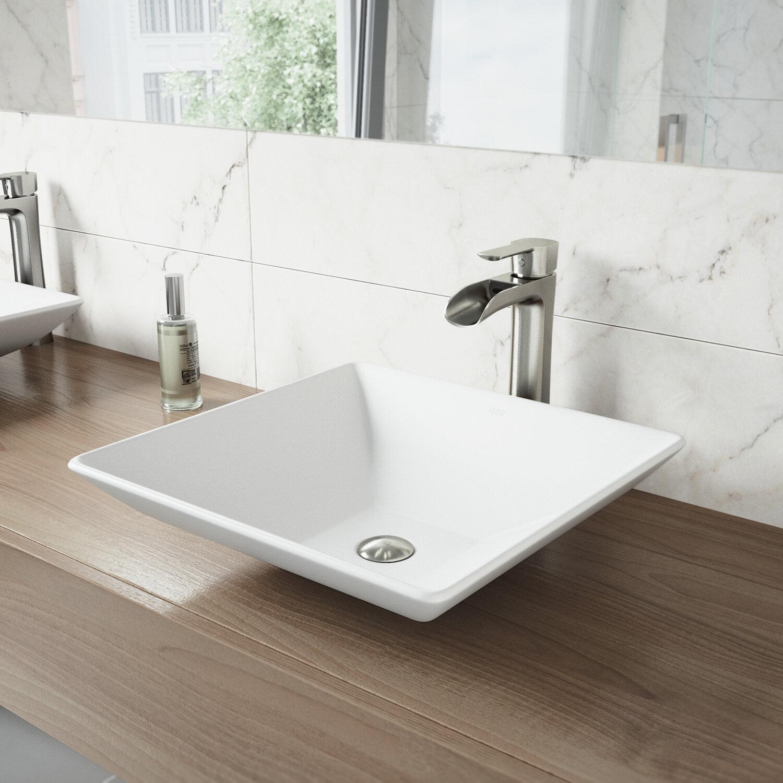 Vigo matte stone square vessel bathroom sink reviews wayfair