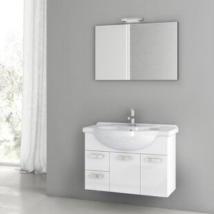 Phinex 34 Wall-Mounted Single Bathroom Vanity Set with Mirror by ACF Bathroom Vanities
