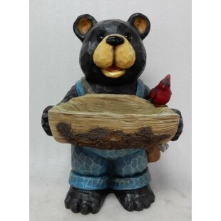 Loon Peak Rishi Bear Holds Bird Bath with Cardinal Statue